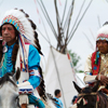 2 Crow Elders In Full Eagle Feather Headdress, Crow Fair Parade: 1_137