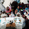 Women on Car Covered With Beaded Regalia, Bison Mount: 2_068