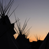 Tipi Poles & Smoke Flaps Silhouetted, Early Dawn Sky: 02_163Vert