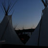 Early Morning Campfire, 2 Tipis Silhouetted in Early Dawn Sky: 02_198